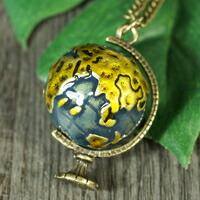 地球儀 ブラス(真鍮) アンティーク ネックレス