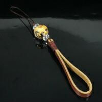 手彫り&ゴールド加工 龍(ドラゴン) 16mm天然水晶 本レザー ストラップ