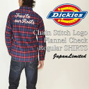 The Dickies, Dickies chain embroidered logo check l/s shirt flannel shirt regular silhouette Japan planning 143m20wd29