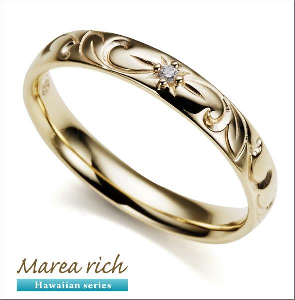 マレア リッチ Hawaiian series K10 ハワイアンモチーフ リング ゴールド×ダイヤモンド 10号 11KJ-06