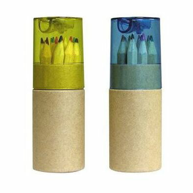 鉛筆削り付色鉛筆 黄 12色 73001 P12Sep14