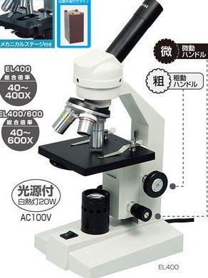 生物顕微鏡EL400(簡易ステージ・木箱大付) 9864 P12Sep14
