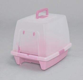 アイリスオーヤマ 砂落としマット付脱臭ネコトイレ SN-620 トイレ ミルキーピンクSN-620(代引き不可) P12Sep14