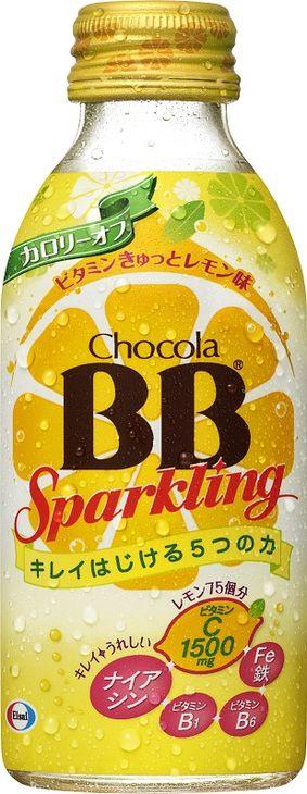 エーザイ チョコラBBスパークリング  ビタミンきゅっとレモン味140ml (栄養機能食品(ナイアシン)、炭酸飲料)<2ケース> 2ケース(代引き不可) P12Sep14