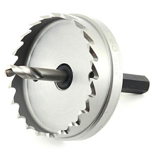 先端工具・鉄工ドリルの鉄工ホールソー60MM。一般鋼(鉄)への穴あけあ作業に。(厚み3mm以下)。ハイスブレード採用で穴あけスピード抜群。(代引き不可) P12Sep14