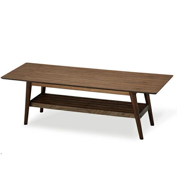 センターテーブル 木製 ウォールナット EMT-2214 ミッドセンチュリー 台形 棚付き リビングテーブル emo emo エモ (代引不可) P12Sep14