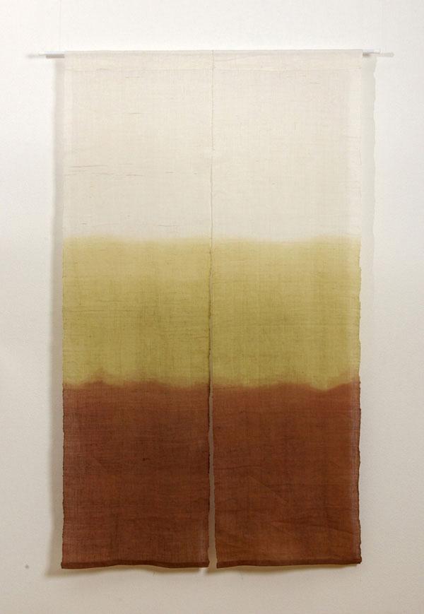 本麻100%使用 手織りのれん 『新ぼかし 麻暖簾』 ブラウン 85×150cm P12Sep14