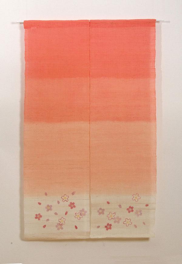 本麻100%使用 手織りのれん 『桜咲く 麻暖簾』 85×150cm P12Sep14