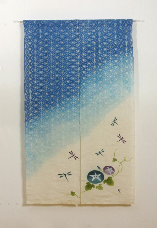 本麻100%使用 手織りのれん 『麻の葉とんぼ 麻暖簾』 ブルー 85×150cm P12Sep14