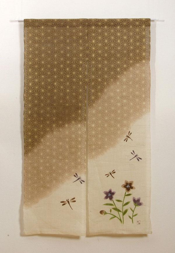 本麻100%使用 手織りのれん 『麻の葉とんぼ 麻暖簾』 ブラウン 85×150cm P12Sep14