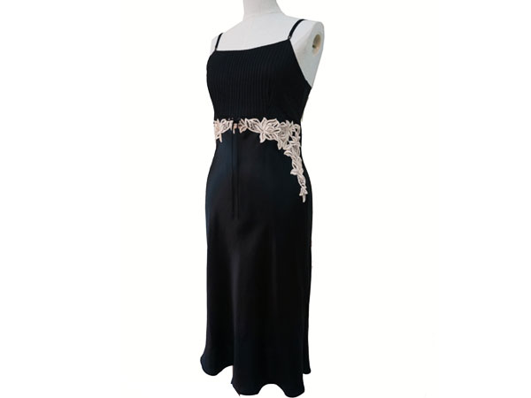 絹工房 シルク 100% ナイトドレス BN12105-3321 ブラック XS P12Sep14