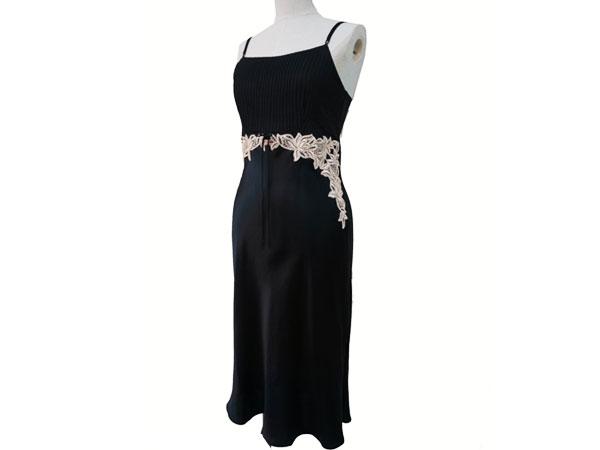 絹工房 シルク 100% ナイトドレス BN12105-3321 ブラック XXS P12Sep14