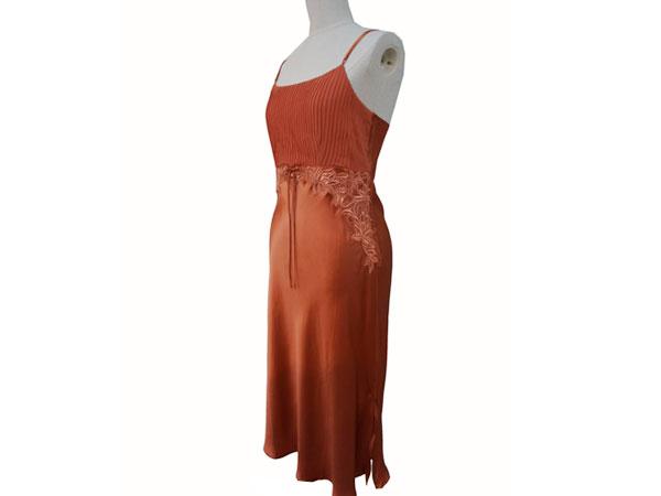 絹工房 シルク 100% ナイトドレス BN12105-3321 赤茶 XXS P12Sep14