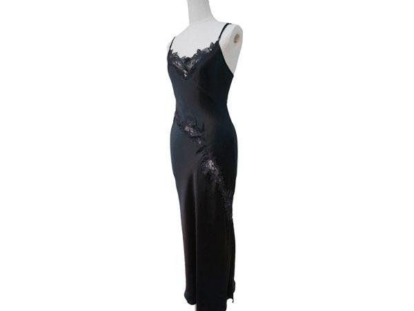絹工房 シルク 100% ナイトドレス BN12105-3322 ブラック M P12Sep14