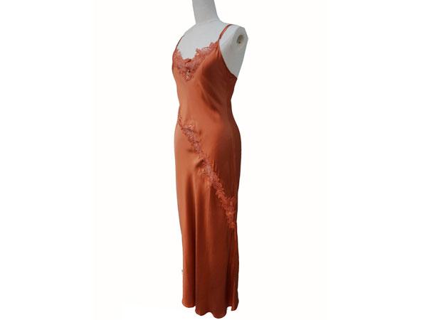 絹工房 シルク 100% ナイトドレス BN12105-3322 赤茶 M P12Sep14