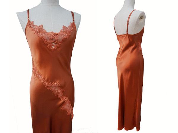 絹工房 シルク 100% ナイトドレス BN12105-3322 赤茶 S P12Sep14