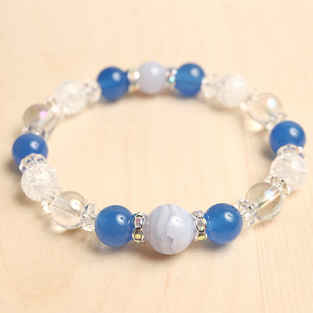 ブレスレット パワーストーン ブルーレースと青メノウの天然石コンビブレスレット/パワーストーン rin-138(代引き不可) P12Sep14