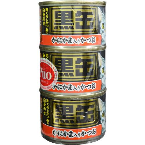 黒缶 かにかま入りかつお 160g×3缶 アイシア P12Sep14