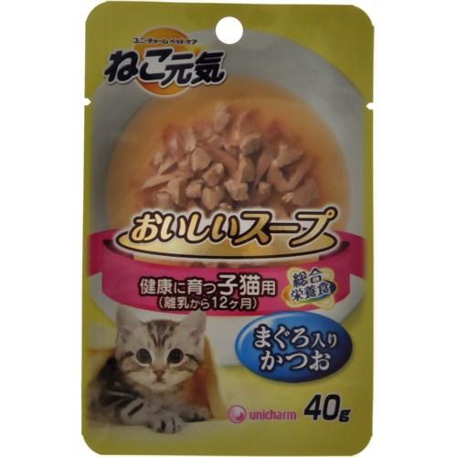 ねこ元気 おいしいスープ 子猫用まぐろ入りかつお 40g ユニ・チャームペットケア P12Sep14