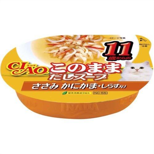 チャオ 11歳からのこのままだしスープ ささみ かにかま・しらす入り 60g いなばペットフード P12Sep14