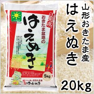 米 日本米 特Aランク 産地直送 25年度産 山形県 おきたま盆地産 はえぬき 置賜 20kg (5kg×4袋) JA直送(代引き不可) P12Sep14