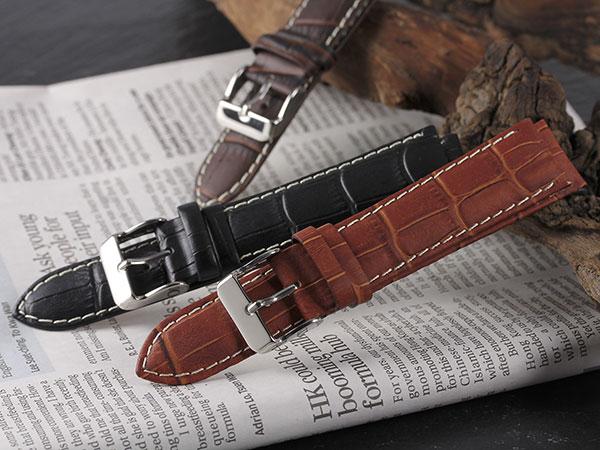 本革 カーフ型押しクロコ メンズ 腕時計 時計 替えベルト PLCMY35-22-BR ブラウンH2 P12Sep14
