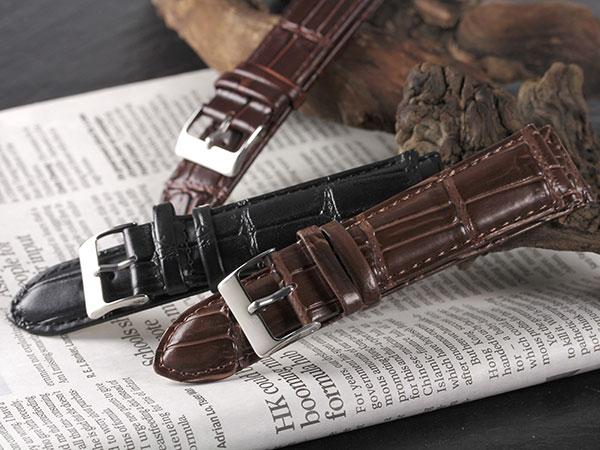 本革 カーフ型押しクロコ メンズ 腕時計 時計 替えベルト RBCRSY35-20-DBR ダークブラウンH2 P12Sep14