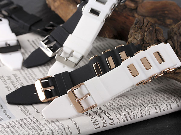シリコン×ステンレス メンズ 腕時計 時計 替えベルト RBSIL30-20-WHSV ホワイト×シルバーH2 P12Sep14