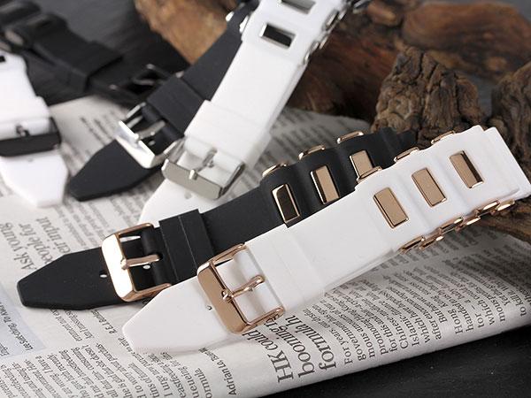 シリコン×ステンレス メンズ 腕時計 時計 替えベルト RBSIL30-22-WHSV ホワイト×シルバーH2 P12Sep14