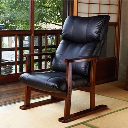 スーパーソフトレザー高座椅子 大河  座いす イス リクライニング 面高さ調整 日本製(YS-1800HR) P12Sep14