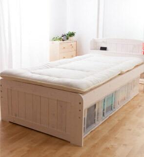 天然木パイン材棚付き すのこベッド セミダブル  P12Sep14