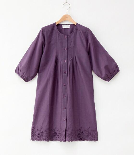 S.mile エスマイル コットンシフォンスカラ刺繍 7分袖ロング丈はおり P12Sep14