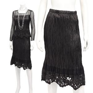 SPECCHIO スペッチオタテハンドプリーツ テープ刺繍飾り付 スカート ブラック 3-31号 P12Sep14