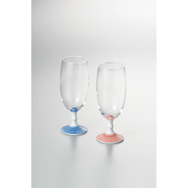 ペアビールグラス(ライン赤&青) INT−104−1 P12Sep14