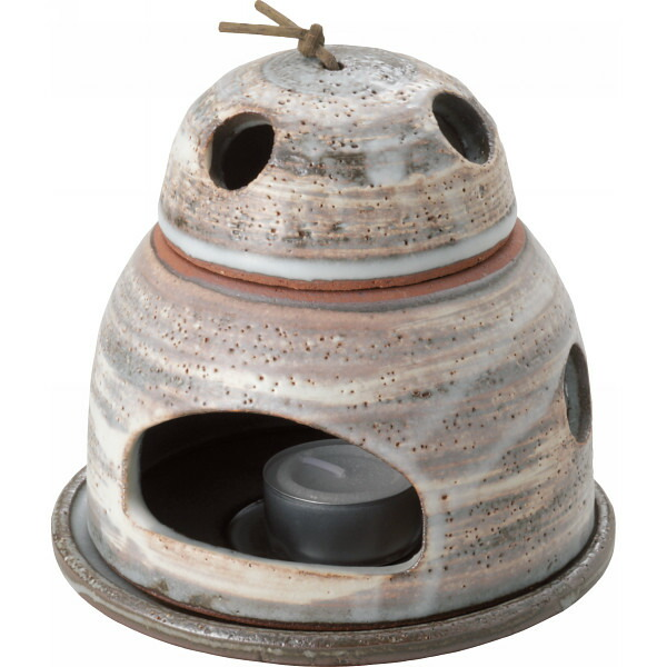 萬古焼 白刷毛目茶香炉 ローソク付 33−47 P12Sep14