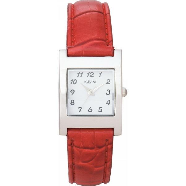 カビーニ ドレスウオッチ ケース=シルバー・ベルト=赤 K2661ーR KAVINI P12Sep14