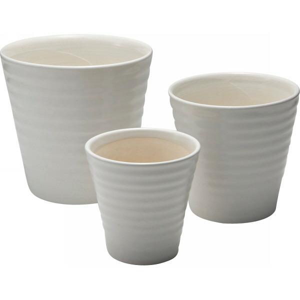 陶器植木鉢3点セット 白 UH10/3MWH P12Sep14