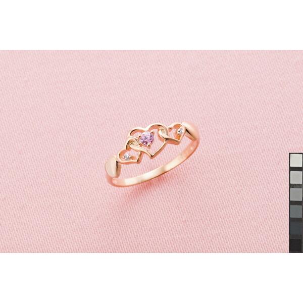 ピンクハートシルバーリング 11号 ACR−1561−A#11 P12Sep14