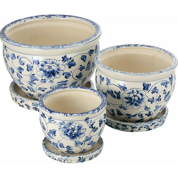 陶器植木鉢3点セット(受皿付) 白・青 花柄 CV34/3DKB4 P12Sep14