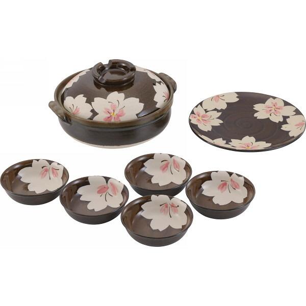 萬古焼 桜花 大皿付鍋セット H2342 P12Sep14