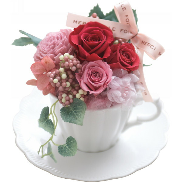 プリザーブドフラワーアレンジメント「フローラルティータイムレッド」 母の日 2014 ギフト 母の日メッセージカード付き(代引き不可)
