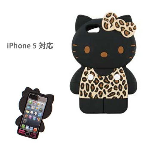 iPhone5ケース アイフォンケース シリコン ハローキティ ヒョウ柄ブラウン(代引き不可) P12Sep14