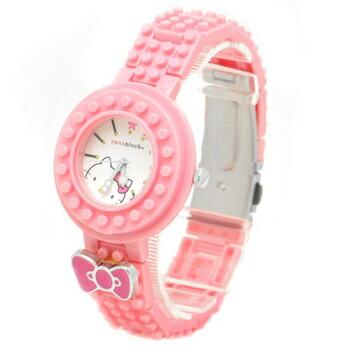 nanoblock×Hellokitty (ナノブロック×ハローキティ) 腕時計 デコって遊べるリストウォッチ NKA-8601-22 ピンク P12Sep14