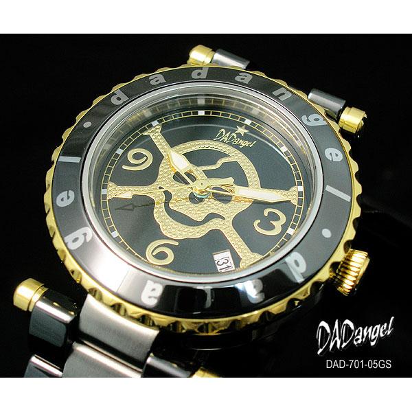 DADangel ダッドエンジェル 腕時計 スカル セラミック メンズウォッチ DAD701-05GS ブラック×ゴールド  P12Sep14