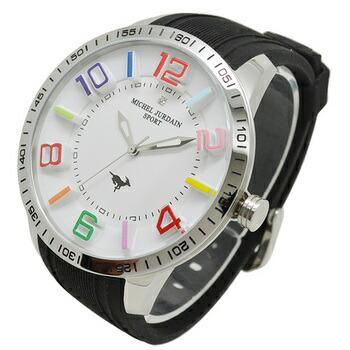 michel Jurdain SPORT (ミッシェル・ジョルダンスポーツ) 腕時計 1Pダイヤモンド シリコンウォッチ メンズウォッチ メンズ腕時計 MJ-7700-4 ブラック×ホワイト P12Sep14