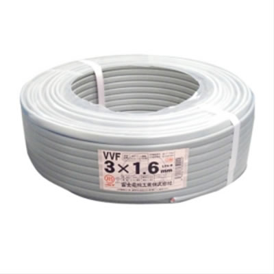 富士電線 富士電線 VVFケーブル 1.6mm×3芯 100m巻 (灰色) VVF1.6×3C×100m P12Sep14