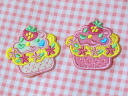 The ice cream embroidery that an emblem (one piece of white and one piece of pink set) of the cupcake has a cute♪