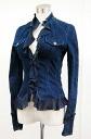 ヴェルサーチジーンズクチュール ruffled denim jacket 38 Blue fs3gm