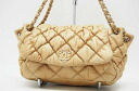 "Chanel quilted bubble chain shoulder lambskin beige ""response."""