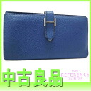 "Hermes gusset fold wallet ""ベアンスフレ"" blue-Thalassa x silver metal goat J ticking ""response."" fs3gm"